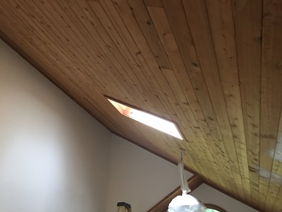 stained wood ceiling
