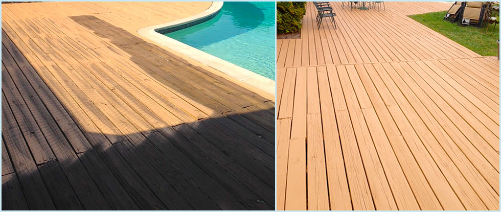 Swimming Pool Decking Before & After