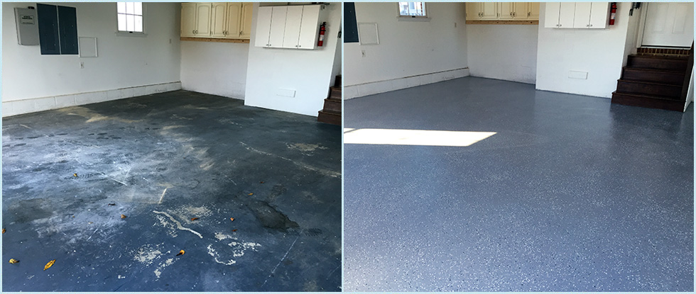 Garage Floor Before Epoxy Finish & After